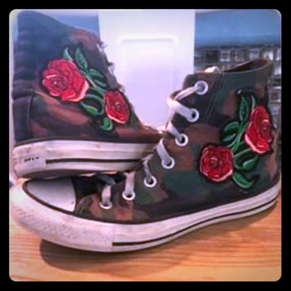 Converse Shoes - Camo/Rose Converse High Top Sneakers